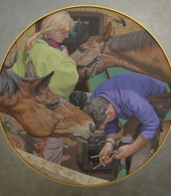 3Shoeing Silky, approx. 70cm diameter, Oil on Board
