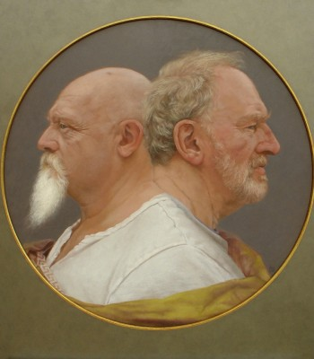 Double Portrait as the Roman god Janus.  70cm diameter, Oil on Board