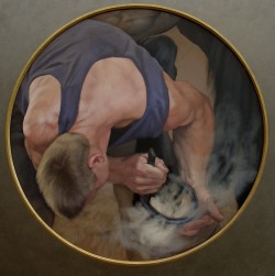 4Checking the Fit, approx 50cm diameter, Oil on Board